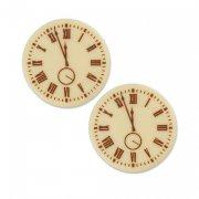 2 Pastilles Horloges (3 cm) - Chocolat Blanc