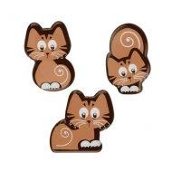 3 Chats en Chocolat. (3,5 cm)