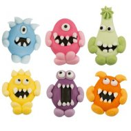 6 Monstres rigolo 2D (3,5 cm) - Sucre