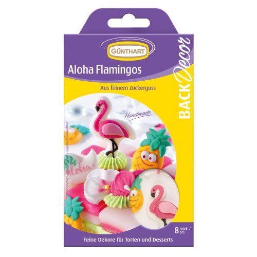 8 Déco 2D Aloha Flamant Rose et Ananas - Sucre