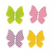 4 Papillons Poppy à plat (3 cm) - Chocolat Blanc