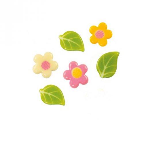 6 Mini Feuilles/Fleurs à plat (1,5 et 2 cm) - Chocolat Blanc