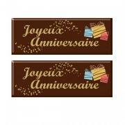 2 Plaquettes Joyeux Anniversaire (5,5 cm) - Chocolat Noir