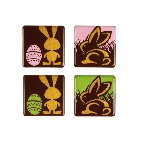 4 Carrés Lapins de Pâques (2,7 cm) - Chocolat Noir