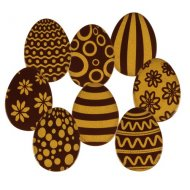 4 Déco Oeufs de Pâques à plat (3 cm) - Chocolat Noir