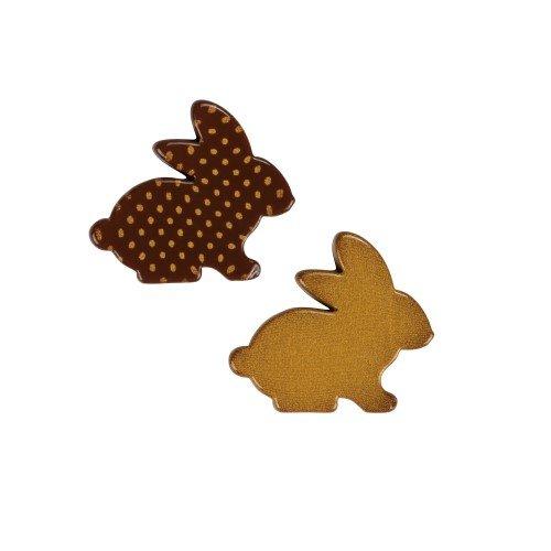 2 Mini Lapins à plat (3,5 cm) - Chocolat Noir