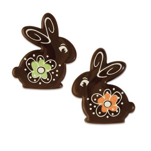 2 Lapins Fleuris à plat (4 cm) - Chocolat Noir