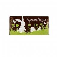 1 Plaquette Joyeuses Pâques Nature (7 cm) - Chocolat Noir