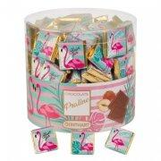 3 Carrés de Chocolat au Lait - Emballage Flamant Rose
