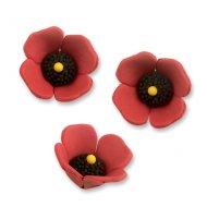 3 Fleurs de Coquelicots 3D (3 cm) - Sucre