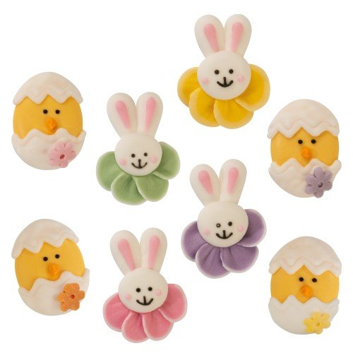 8 Mini décors de Pâques 2D (3 et 3,5 cm) - Sucre