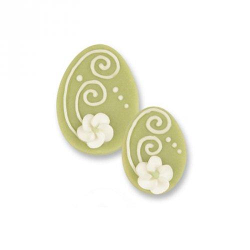 1 Grand oeuf + 2 Petits Oeufs 2D Vert (3,5 et 4,5 cm) - Sucre