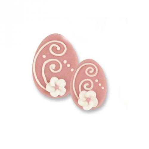 1 Grand oeuf + 2 Petits Oeufs 2D Rose (4,5 et 3,5 cm) - Sucre