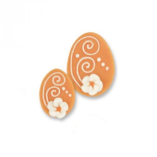 1 Grand oeuf + 2 Petits Oeufs 2D Orange (4,5 et 3,5 cm) - Sucre
