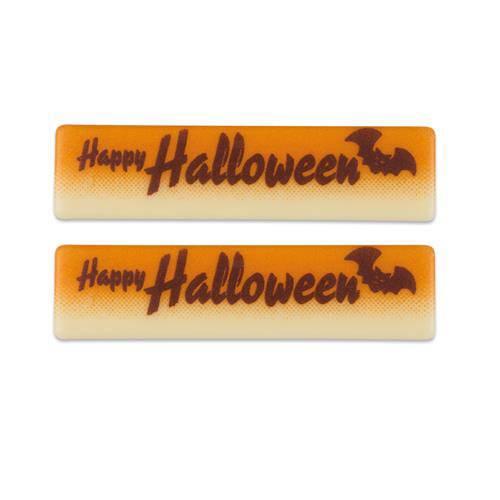 2 Plaquettes Happy Halloween (6cm) - Chocolat Blanc