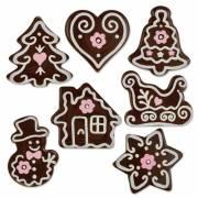 7 Décors de Noël Rose (3 cm) - Chocolat Noir