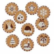 10 minis Disques Noël (3 cm) - Chocolat Blanc