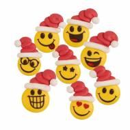 5 Décors Smiley Noël (4 cm) - Sucre