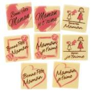 8 Plaquettes Bonne Fête Maman -  Chocolat Blanc