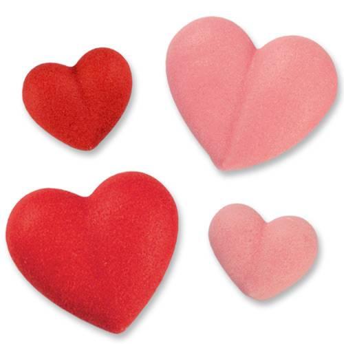 2 Petits Coeurs + 2 Minis Coeurs Rose/Rouge - Sucre