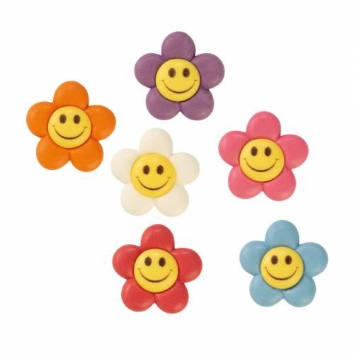 6 Petites Fleurs Sourire (3,5 cm)  - Sucre