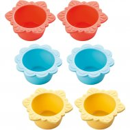 6 Moules Silicone à Cupcakes Fleur en fête