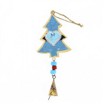 Suspension Sapin à Motifs et Clochette N°4 (19 cm) - Métal