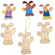 3 Lapins à décorer en bois