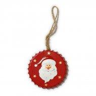 Grande Suspension Médaillon Père Noël (10 cm) - Métal