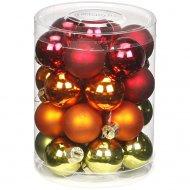 28 Mini Boules Rouge/Vert/Orange (3 cm) - Verre