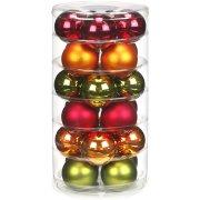24 Boules Rouge/Vert/Orange (6 cm) - Verre