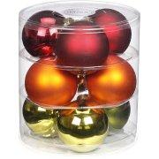 9 Boules Maxi Rouge/Orange/Vert (9 cm) - Verre