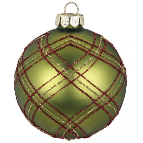 Boule Tartan Vert (8 cm) - Verre