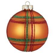 Boule Tartan Orange (8 cm) - Verre