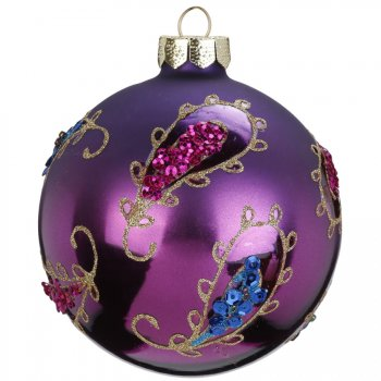 Boule Noël Bohème Violet (8 cm) - Verre