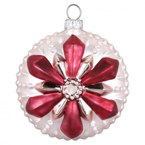 Boule Bijou Rose Fleur Flocon (8 cm) - Verre