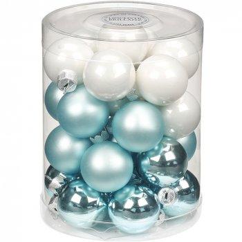 28 Mini Boules Harmonie Bleu givré (3 cm) - Verre