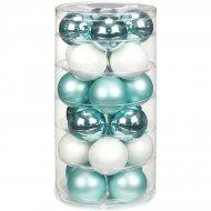 24 Boules Harmonie Bleu givré (6 cm) - Verre
