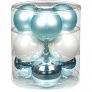 9 Boules Maxi Harmonie Bleu givré (9 cm) - Verre