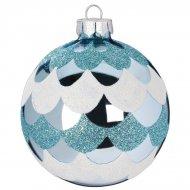Boule Noël Givré Bleu N°2 (8 cm) - Verre