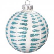 Boule Noël Givré Bleu N°3 (8 cm) - Verre