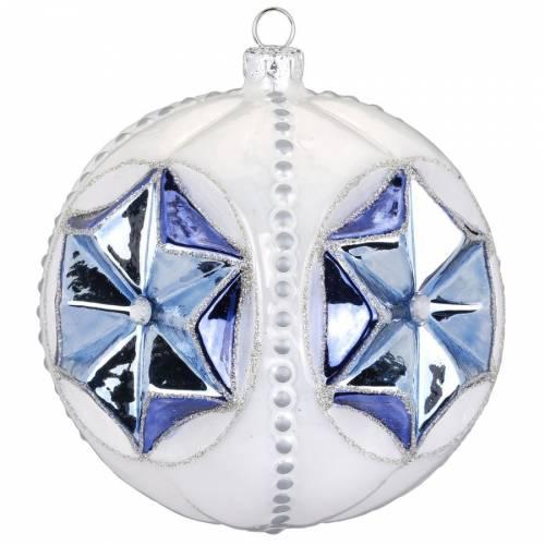 Boule Bijou Maxi Bleu Etoile (10 cm) - Verre
