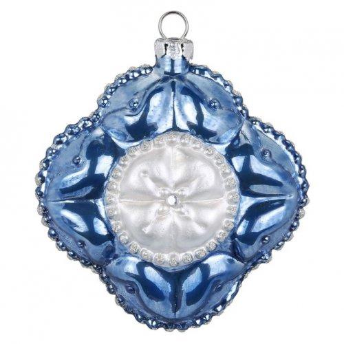 Boule Bijou Bleu Fleur Royal (8 cm) - Verre