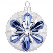 Boule Bijou Bleu Fleur Flocon (8 cm) - Verre
