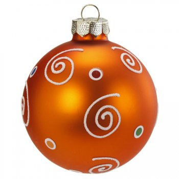 Boule Noël Fantaisie Orange N°1 (6 cm) - Verre
