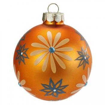 Boule Noël Fantaisie Orange N°2 (6 cm) - Verre