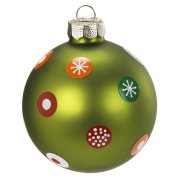 Boule Noël Fantaisie Vert N°2 (6 cm) - Verre