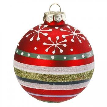 Boule Noël Fun Flocons et Rayures (6 cm) - Verre