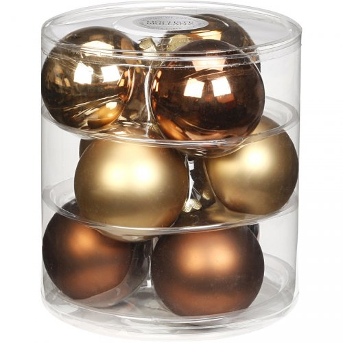 9 Boules Maxi Harmonie Or (9 cm) - Verre