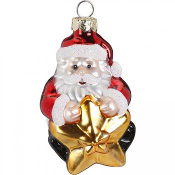 Suspension Père Noël Etoile ( 7 cm) - Verre